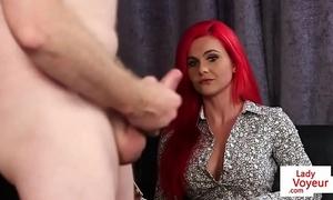 Redhead british voyeur teasing jerking stud