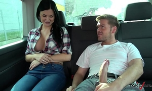 Ryan ryder convince youthful innocet lovely jasmine jae to fuck in driving van