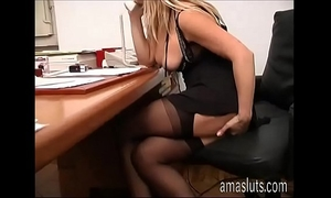 Dirty secretary jerks off her cookie in office instead of work