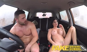 Fake driving school favourable youthful chap tempted by his breasty milf examiner