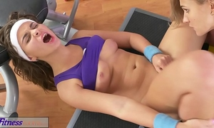 Fitness rooms breathtaking perspired lesbos with sexy bodies fuck every other