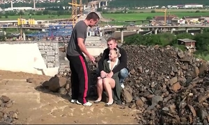 Very cute little legal age teenager BBC slut public gang group-sex threesom at a construction web page