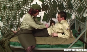 Pierced wet crack senior army officer reprimands a soldier