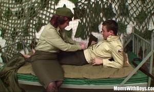 Pierced wet crack senior army officer reprimands a soldier