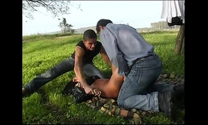 A woman with car trouble is taken and humiliated by 2 studs