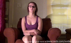 Local college nerd bare and nervous on my chair masturbating with pink vibrator