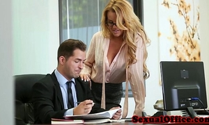Busty office secretary group-fucked over the table
