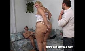 Fatty caretaker nurses and bonks 2 lewd fellows