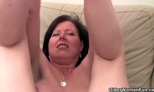 British mom julie with her large bra buddies and shaggy bawdy cleft acquires finger drilled