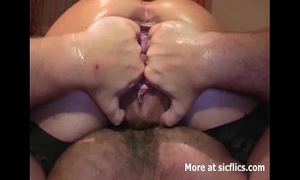 Fist fucking her squirting bucket cum-hole