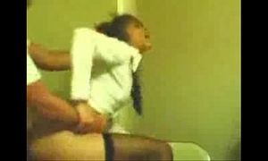 Girlfriend in school uniform receives screwed doggy style
