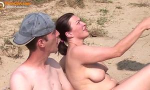 Real dilettante trio on the beach