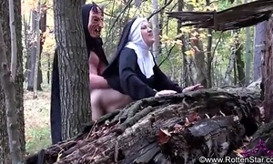 Smoking nun drilled by devil