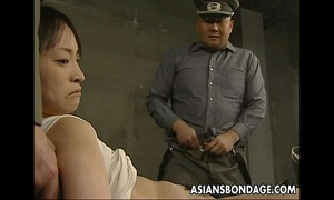 Japanese playgirl held down and stuffed with corpulent weenies