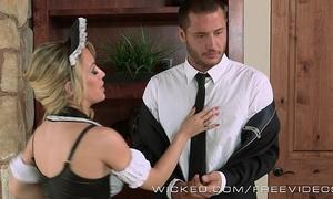 Sexy maid sucks jock