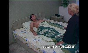 Blonde older waking stepson with a oral stimulation