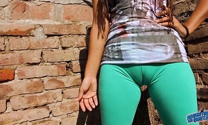 Big cameltoe legal age teenager in ultra taut leggins! big round ass n bra buddies