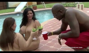 Big titted angelina castro & lexxxi take on giant jock by the pool!