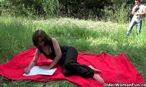 The great outdoors wets grandma's appetite for dick and cum