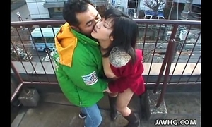 Lovely japanese playgirl sucks a hard cock outdoors
