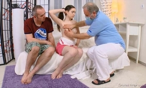 Julia's virgin snatch checked by doctor and carefully deflowered