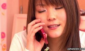 Japanese horny white wife having phone sex