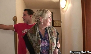 Busty granny is picked up by juvenile dude