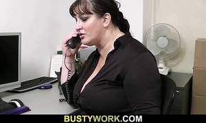 Busty wench receives slammed at workplace