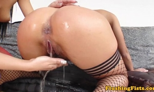 Fist screwed glamour golden-haired squirts