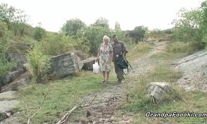 Mature pair having joy in nature