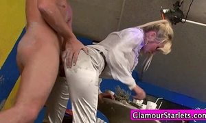 Clothed filthy playgirl screwed hard