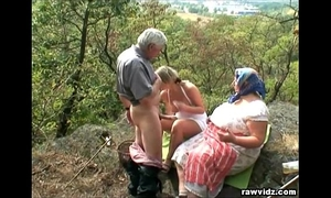 Voyeuristic golden-haired with old pair