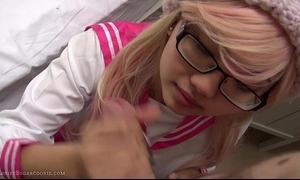 Pink japanese schoolgirl cosplay irrumation