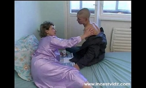 Bald youthful dude bonks his granny