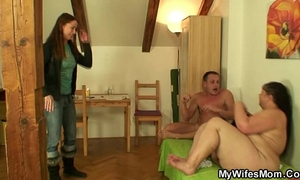 Busty mother-in-law gives up her cum-hole