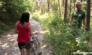Busty biker hottie terry acquires nailed in woods