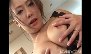 Yayoi yanagida in a lacey brassiere plays with her large mounds for her fuck buddy driving
