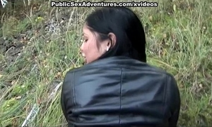 Flashing hot melons and taking hard schlong outdoors