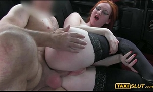 Redhead hottie zara nailed in the backseat of a taxi