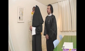 Naughty nun widens wide and sucks shlong hitomi kanou