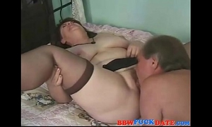 Hairy old bbw creampie by her spouse
