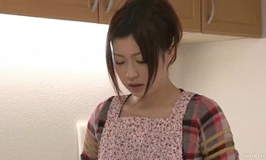 Riko has a fake penis fantasy in her kitchen and uses her toys to cum
