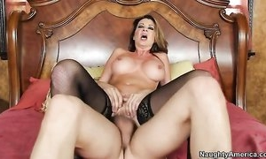 Nymphomaniac woman in stockings seduced her son's friend