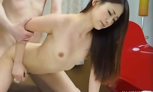 Skinny Asian girl takes BF's dick in her tiny pussy