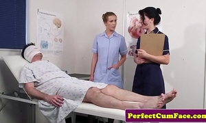 Threeway nurse facialized with giant load