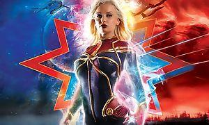 Busty Captain Marvel handles lots of big throbbing cocks
