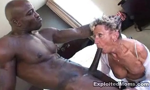 Old granny takes a large dark dick in her butt anal interracial clip
