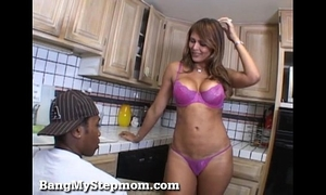 Horny milf has a longing for stepson's large dark shlong!