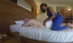Massage in africa with oral-job and cum eating