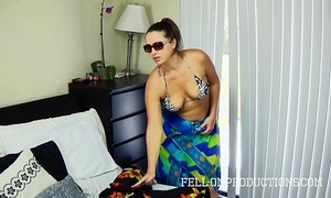 Hot milf with large a-hole bonks in strap bikini